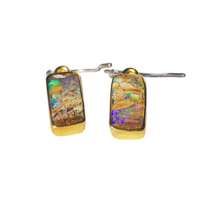 RAINBOW RIVER STERLING SILVER & 18kt GOLD PLATED OPAL EARRINGS