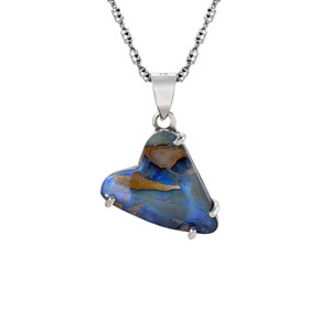 BLUE BURSTING HEART STERLING SILVER HEART SHAPED OPAL NECKLACE