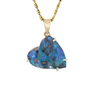 BRIGHT GREEN BLUE HEART 14KT YELLOW GOLD BOULDER OPAL HEART SHAPED NECKLACE
