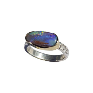 AMAZING RIVER 14KT GOLD & STERLING SILVER OPAL RING