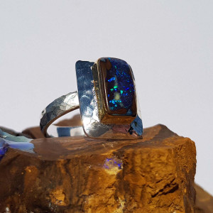 BLUE DESERT 18KT GOLD PLATED & STERLING SILVER BOULDER OPAL RING