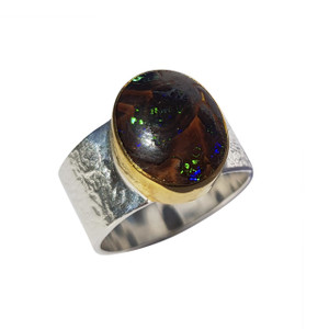 NATURES BALL 18KT GOLD PLATED & STERLING SILVER BOULDER OPAL RING