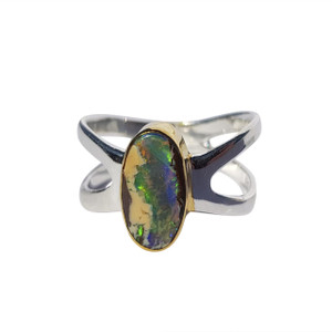 BLUE STREAM 18KT GOLD PLATED & STERLING SILVER BOULDER OPAL RING