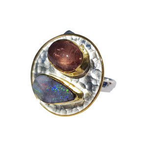 OPAL & TOURMALINE 18KT GOLD PLATED & STERLING SILVER OPAL RING