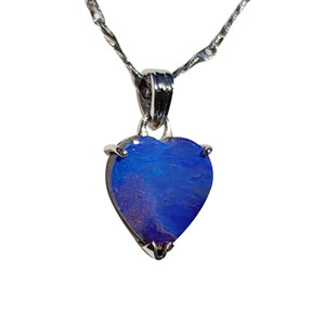 FULL OF LOVE STERLING SILVER HEART OPAL NECKLACE