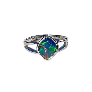 BEDAZZLED FLASH STERLING SILVER OPAL RING