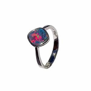 BRIGHT RED MOONLIGHT STERLING SILVER OPAL RING