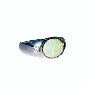 BOLD NIGHT SOLID WHITE OPAL STERLING SILVER RING