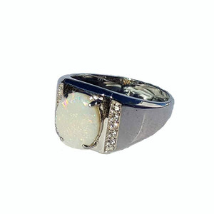 CONFETTI SOLID WHITE OPAL STERLING SILVER RING