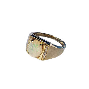 GREEN DESIRES 18kt GOLD PLATED SOLID WHITE OPAL RING