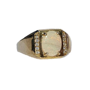 RED BLOOM 18kt GOLD PLATED WHITE OPAL RING