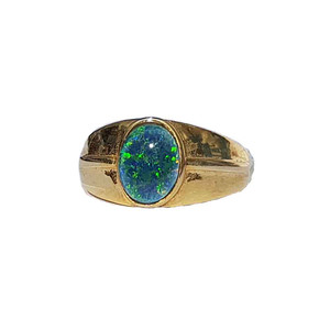 BLUE SPARKLE 18kt GOLD PLATED OPAL RING