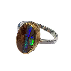 GREEN LIGHTNING STRIKE STERLING SILVER & 18KT GOLD PLATED OPAL RING