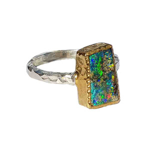 BLUE & GREEN HARMONY STERLING SILVER & 18KT GOLD PLATED OPAL RING