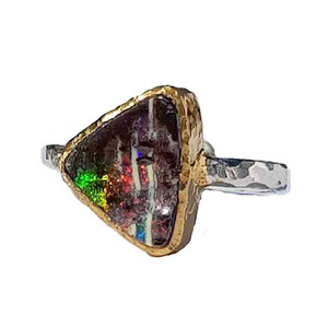 TRIANGLE OF COLOUR STERLING SILVER & 18KT GOLD PLATED OPAL RING