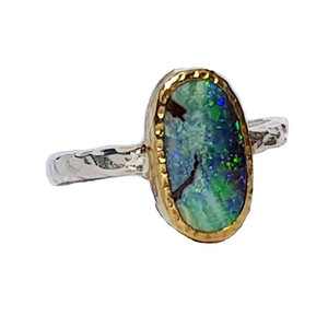 NEON GREEN SWIRL STERLING SILVER & 18KT GOLD PLATED OPAL RING