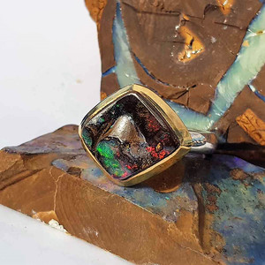 CARVED OPAL MOUNTAIN STERLING SILVER & 18KT GOLD PLATED RING