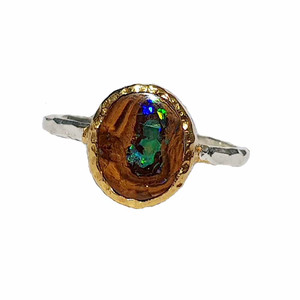 ELECTRIC GREEN FOREST STERLING SILVER & 18KT GOLD PLATED OPAL RING