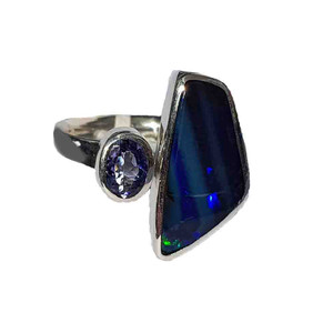 MIDNIGHT BLUE FLASH STERLING SILVER OPAL RING