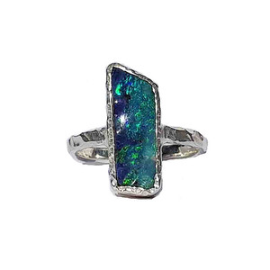 MYSTERIOUS MORNING SEA STERLING SILVER OPAL RING