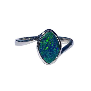 BLUE RUNNING WATER STERLING SILVER OPAL RING
