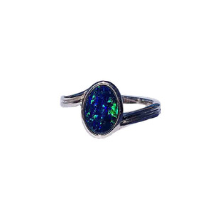 BLISSFUL BLUE STERLING SILVER OPAL RING