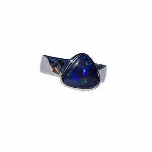 TRIANGLE SURPISE STERLING SILVER OPAL RING