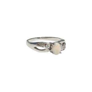 COMFORTED LOVE WHITE OPAL STERLING SILVER RING