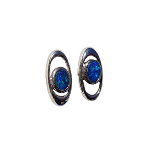 PASSION & LOVE STERLING SILVER OPAL CUFFLINKS