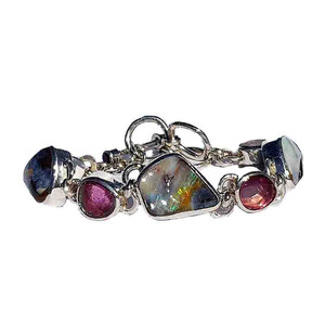 THOUGHTFUL STERLING SILVER GEMSTONE & OPAL BRACELET