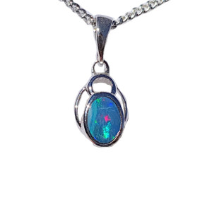 BABY BLUE NIGHT STERLING SILVER OPAL NECKLACE