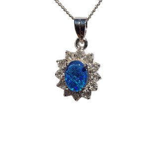 BLUE FLOWER SPARK STERLING SILVER OPAL NECKLACE