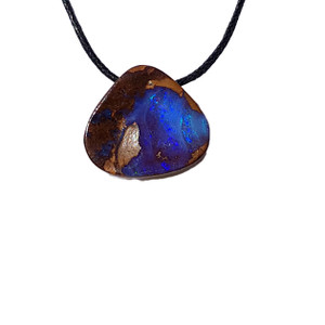 BLAZING BLUE MOUNTAIN SOLID BOULDER OPAL NECKLACE