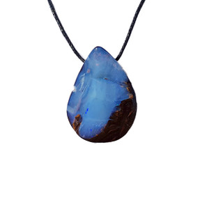 IGNITED SNOW FALL SOLID BOULDER OPAL NECKLACE