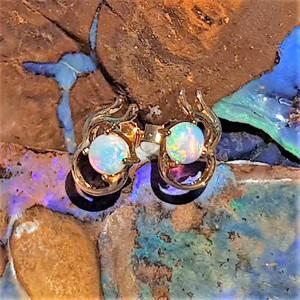 BLUE RADIANCE 9KT GOLD OPAL EARRINGS