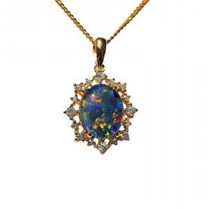 QUEEN OF THE OCEAN 18KT GOLD PLATED NATURAL AUSTRALIAN OPAL NECKLACE WITH CUBIC ZIRCONIA