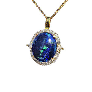 ABYSSAL WONDERS 18KT GOLD PLATED NATURAL AUSTRALIAN OPAL NECKLACE WITH CUBIC ZIRCONIA