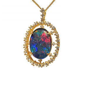 SUPERNOVA FRAGMENT 18KT GOLD PLATED NATURAL AUSTRALIAN OPAL NECKLACE WITH CUBIC ZIRCONIA