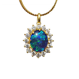 IRIS OF THE WHITE TIGER 18KT GOLD PLATED NATURAL AUSTRALIAN OPAL NECKLACE WITH CUBIC ZIRCONIA