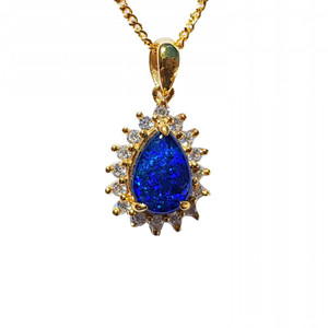 PERSEIDS STARGAZE 18KT GOLD PLATED NATURAL AUSTRALIAN OPAL NECKLACE WITH CUBIC ZIRCONIA