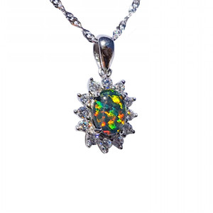 EVERLASTING BLOOM STERLING SILVER NATURAL AUSTRALIAN OPAL NECKLACE WITH CUBIC ZIRCONIA