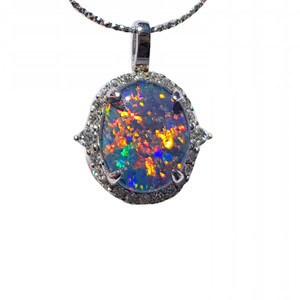 RADIANT JUNGLE STERLING SILVER NATURAL AUSTRALIAN OPAL NECKLACE WITH CUBIC ZIRCONIA