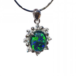 VERDANT SUN STERLING SILVER NATURAL AUSTRALIAN OPAL NECKLACE WITH CUBIC ZIRCONIA