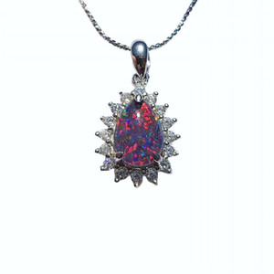GLORY IN THE YARD SERLING SILVER NATURAL AUSTRALIAN OPAL NECKLACE WITH CUBIC ZIRCONIA