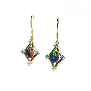SHAPELESS BEAUTY 18KT GOLD PLATED AND CUBIC ZIRCONIA DROP NATURAL AUSTRALIAN OPAL EARRINGS