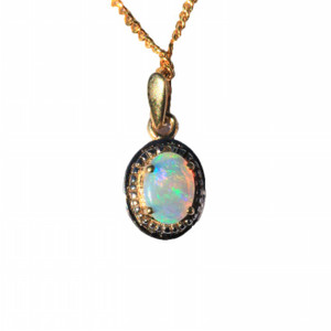 OVAL ESSENCE 9KT GOLD NATURAL SOLID AUSTRALIAN OPALNECKLACE