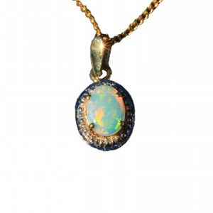 ELEGANCE DESIRED 9KT GOLD NATURAL SOLID AUSTRALIAN OPAL NECKLACE