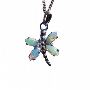 BUTTERFLY STERLING SILVER NATURAL SOLID AUSTRALIAN WHITE OPAL NECKLACE