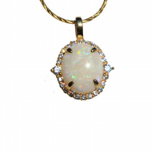 ALURING GALAXY 18kt GOLD PLATED NATURAL SOLID AUSTRALIAN WHITE OPAL NECKLACE