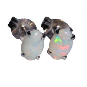CLASSIC GEM STERLING SILVER NATURAL WHITE AUSTRALIAN OPAL EARRINGS